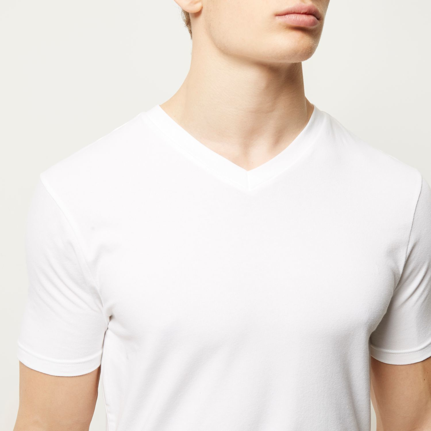 Mens Green rib muscle fit V neck T-shirt River Island Outlet New Styles OTTiaGzWK