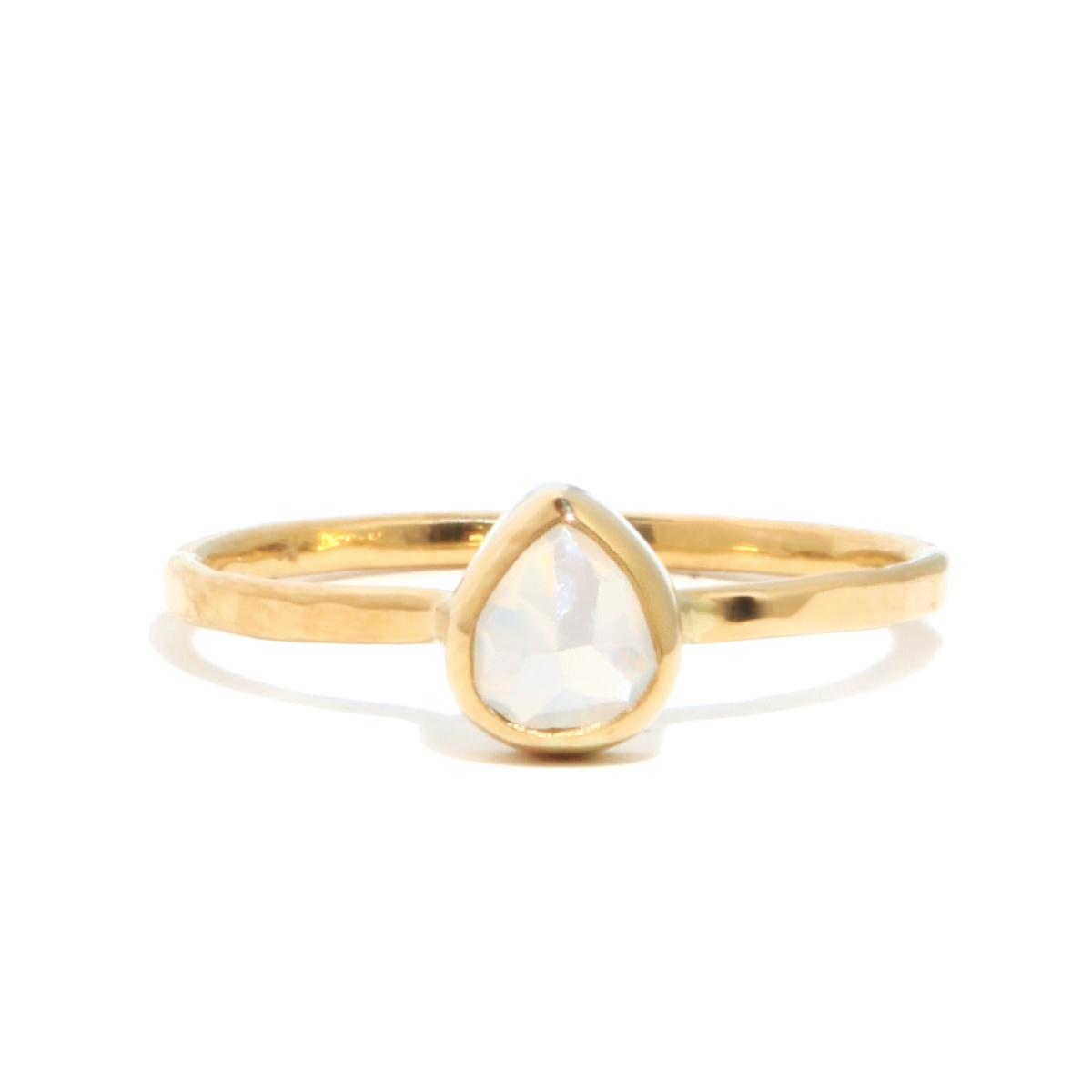 Melissa joy manning 1 Carat Grey And Clear Teardrop Diamond Ring in Gray