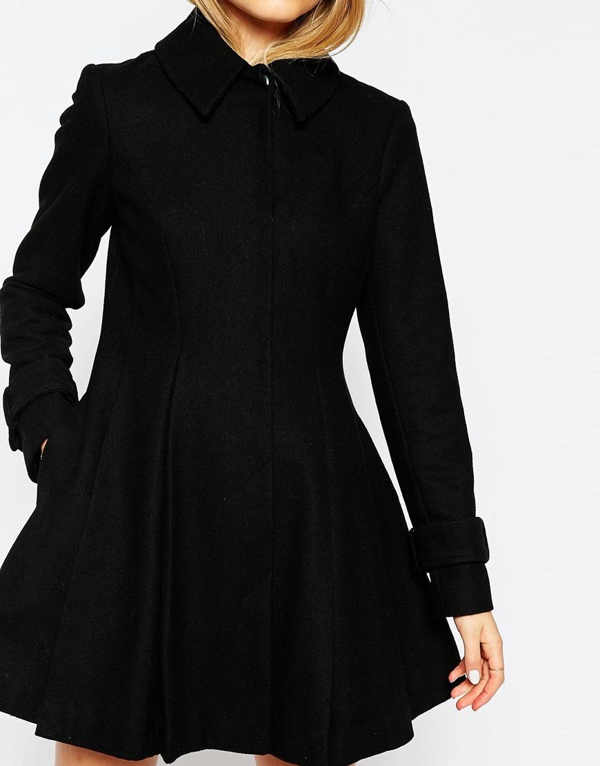 Asos Dolly Skater Coat With Pleat Detail in Black | Lyst