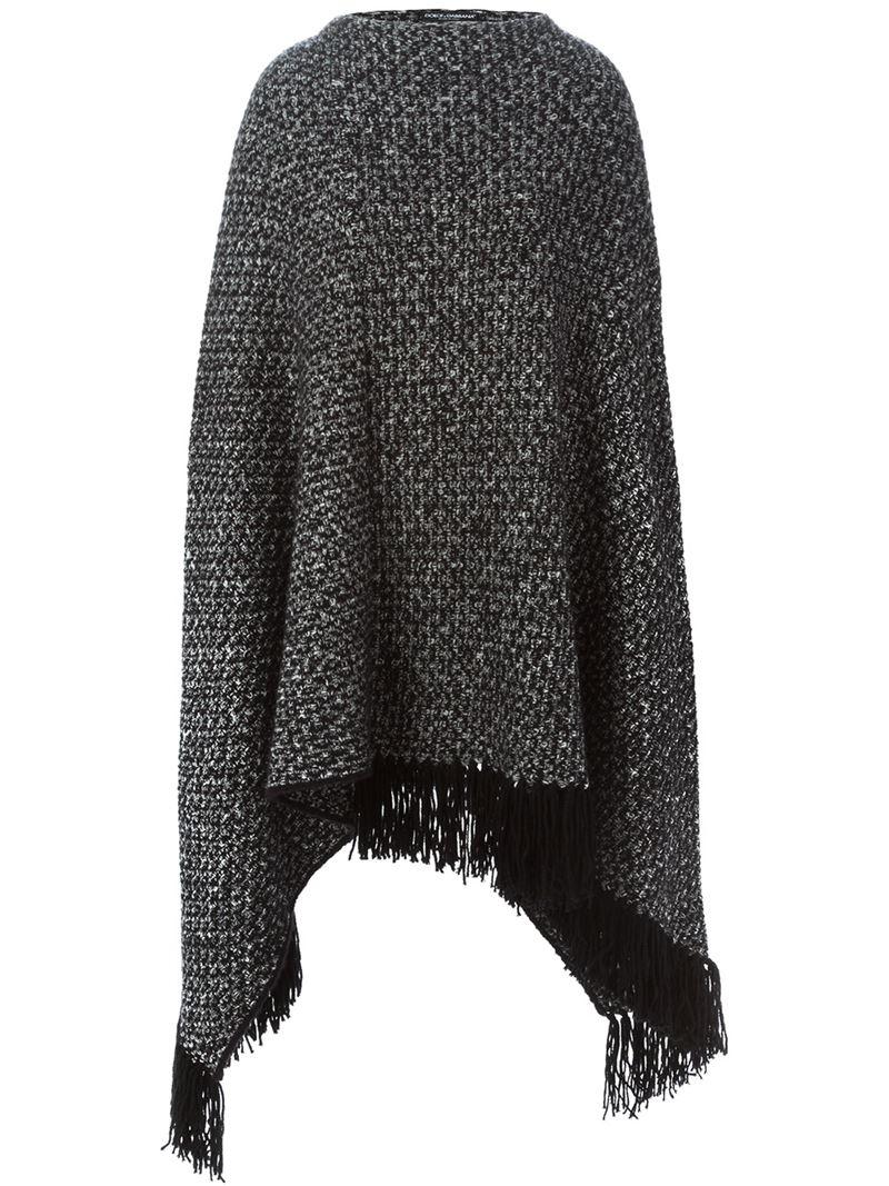 Lyst - Dolce & Gabbana Marled Knit Poncho in Black