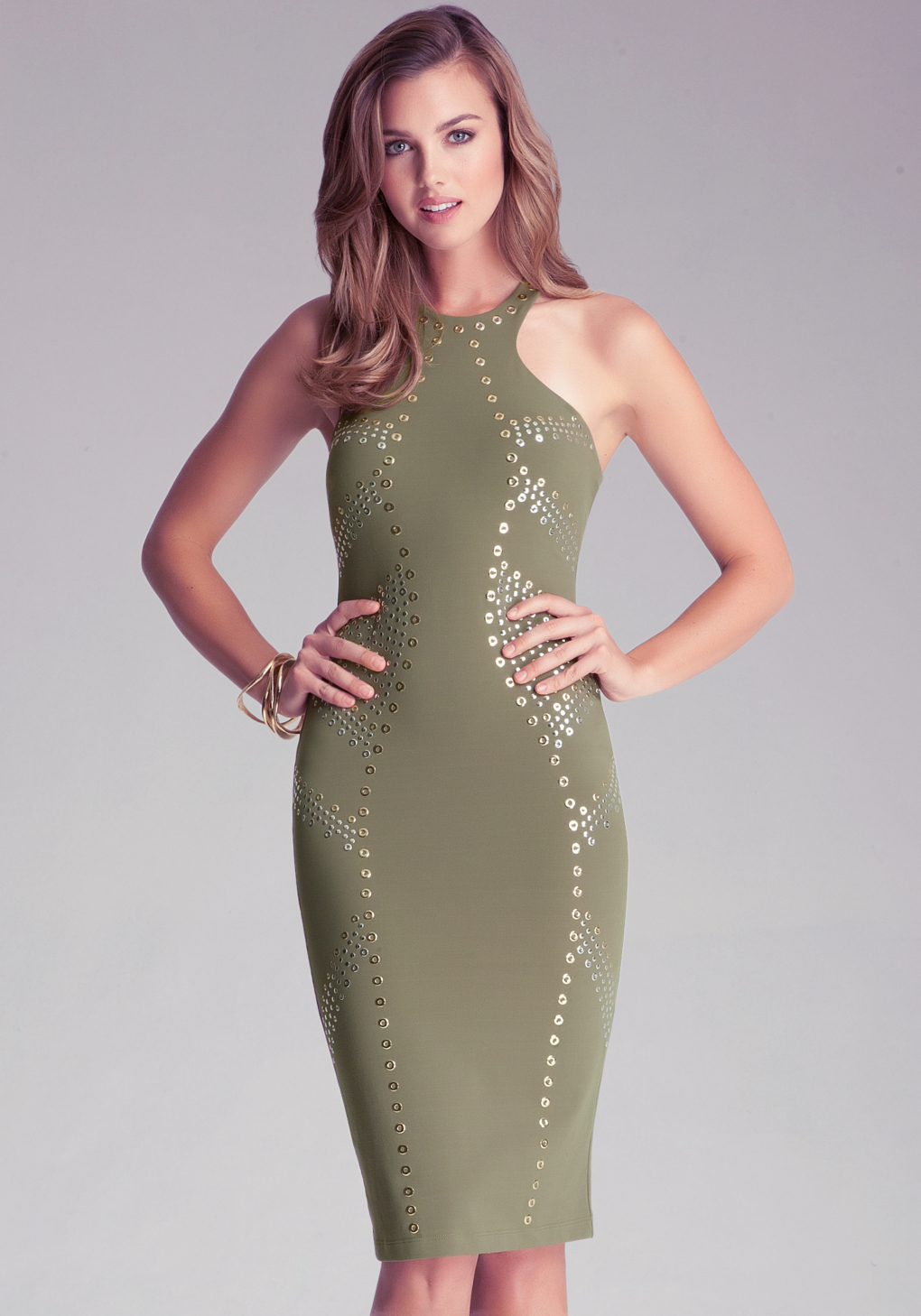 Bebe Green Racerfront Studded Dress Lyst