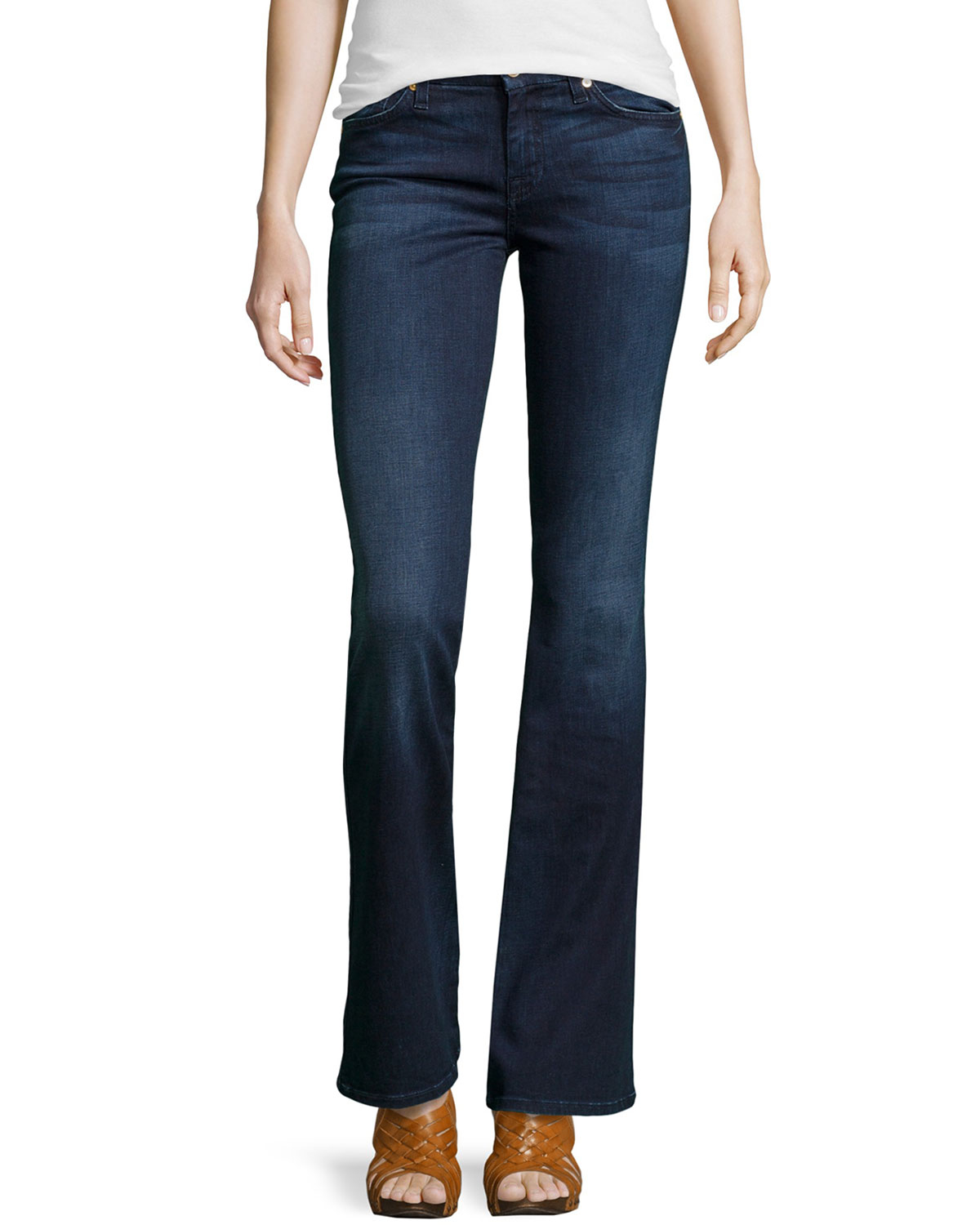 7 for all mankind roxanne a pocket boot cut jeans in blue. Black Bedroom Furniture Sets. Home Design Ideas