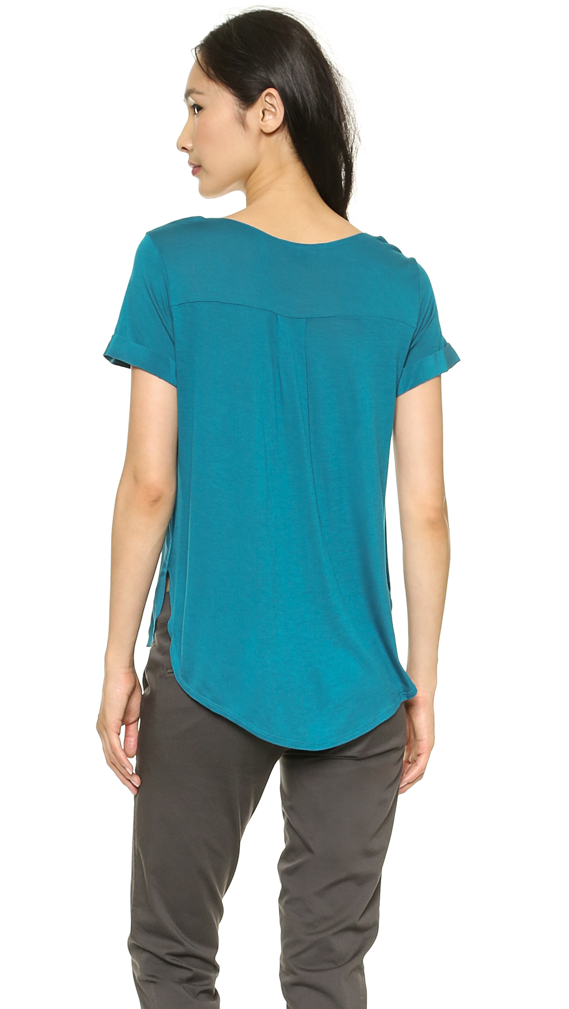 Lyst vince cap sleeve shirttail tee white in green for Vince tee shirts sale