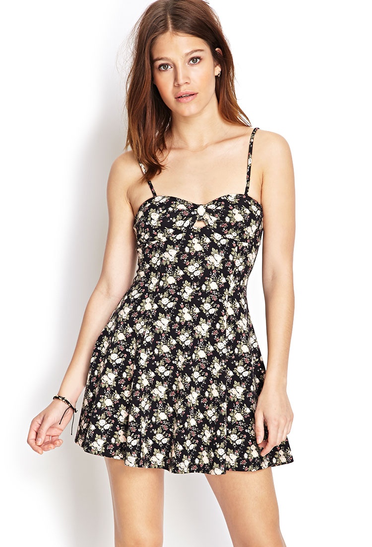 Forever 21 Floral Print Skater Dress in Black | Lyst
