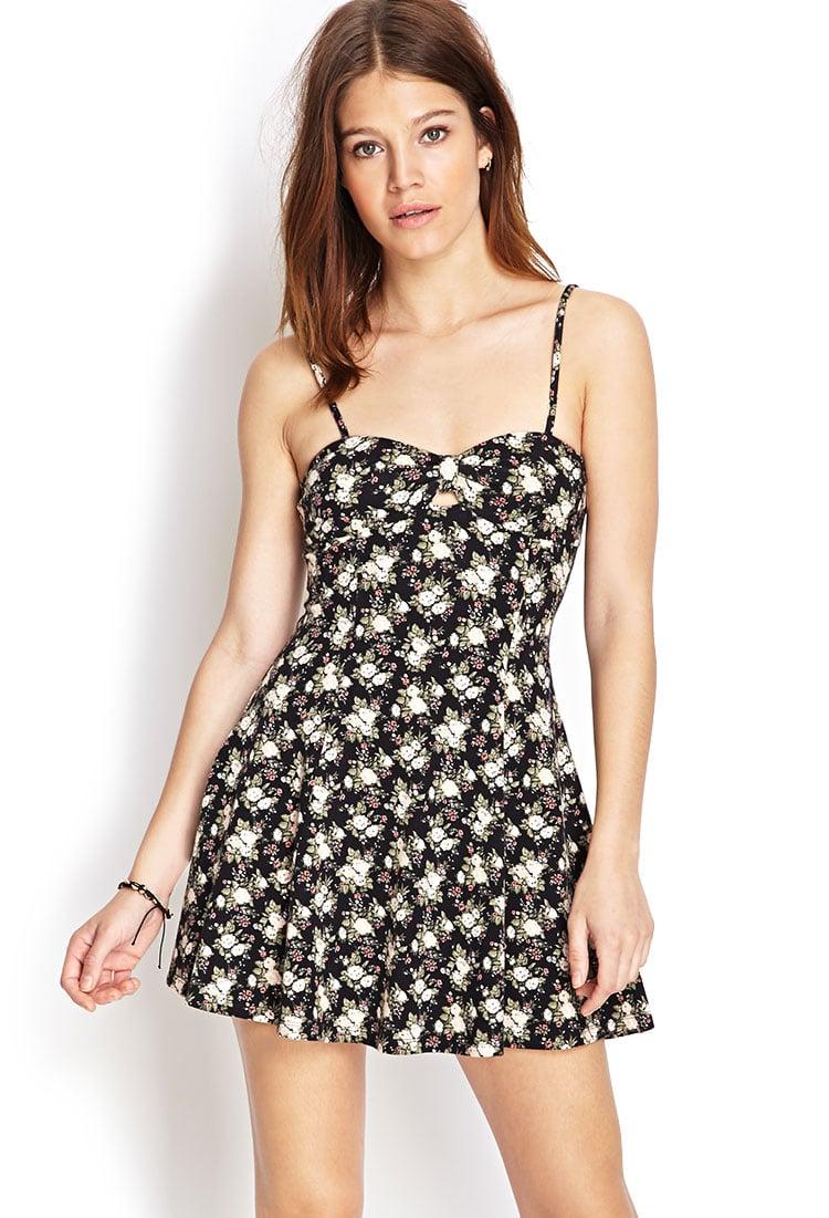 forever 21 floral print skater dress in black blacklight