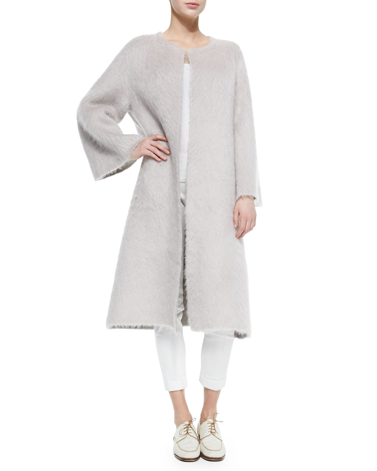 The row Mohair Robe-Style Long Coat in Gray   Lyst