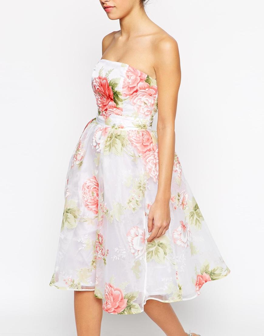 Lyst - Elise Ryan Bandeau Midi Prom Dress In Organza