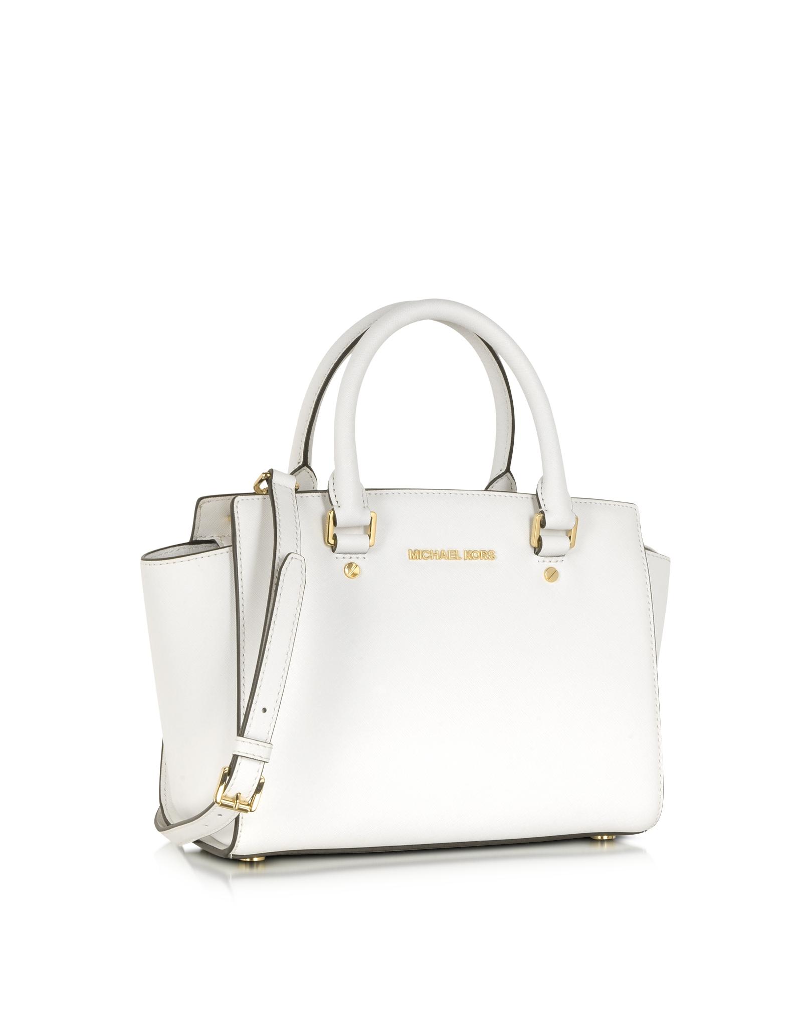 michael kors medium selma top zip satchel in white optic white lyst. Black Bedroom Furniture Sets. Home Design Ideas