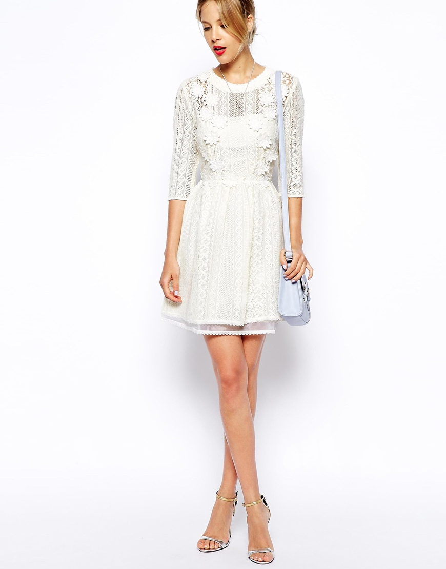 lyst asos skater dress with pretty floral applique in white. Black Bedroom Furniture Sets. Home Design Ideas