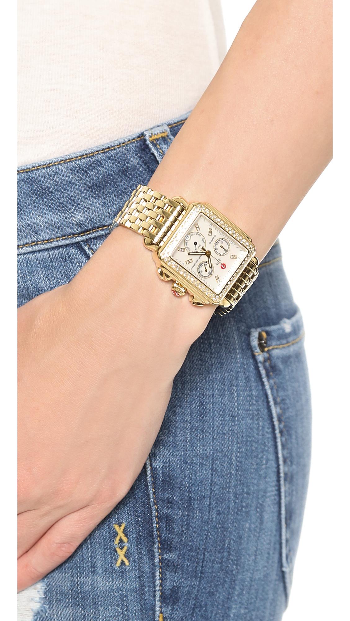 Michele Deco II Midsize Seven-Link Bracelet Strap, Gold