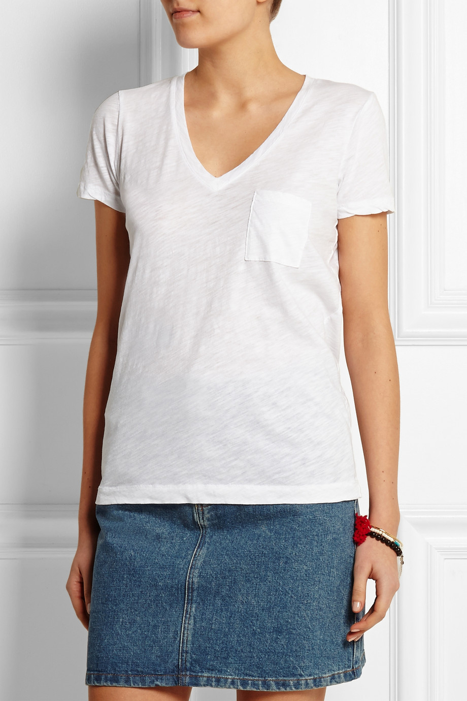 Madewell slub cotton jersey t shirt in white lyst for What is a slub shirt