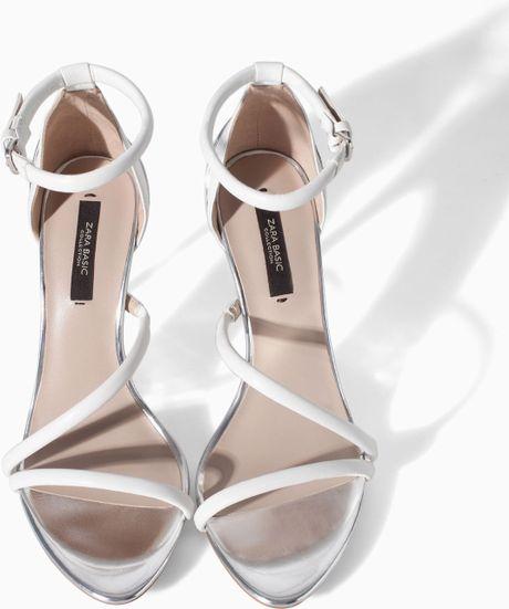 Zara High Heel Strappy Sandals In White Lyst