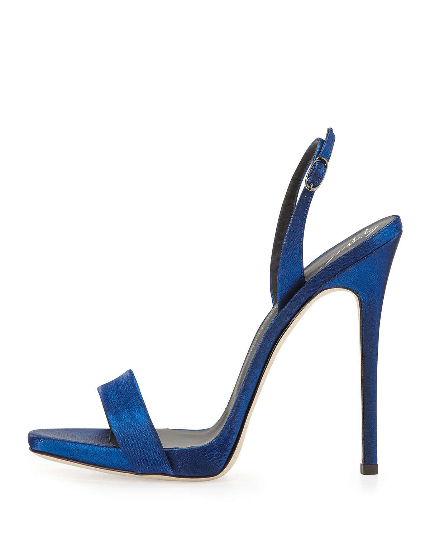 39d2338fbc9 Lyst - Giuseppe Zanotti Satin Slingback Sandal in Blue