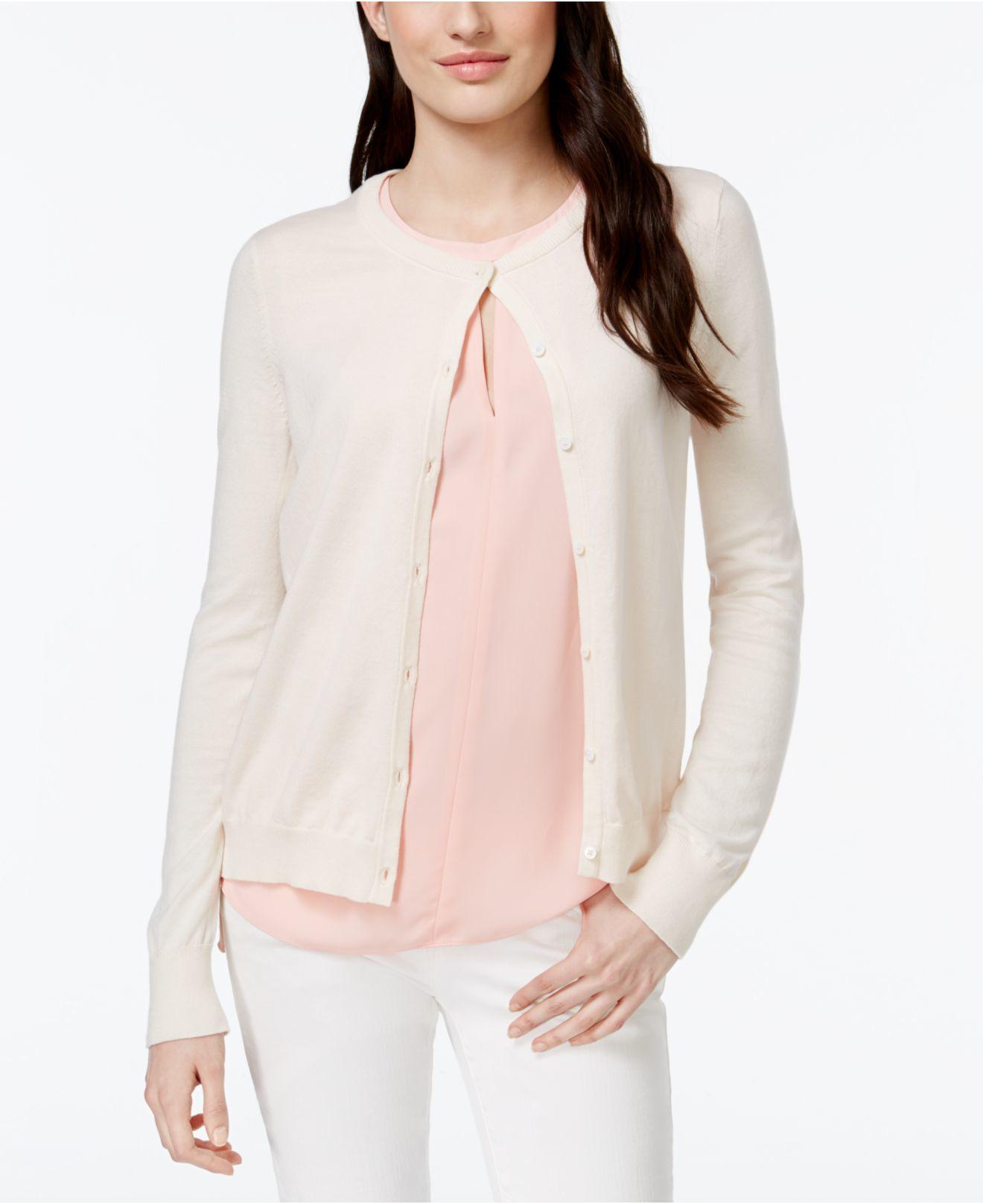 Cece by cynthia steffe Floral Chiffon-back Cardigan in Pink | Lyst