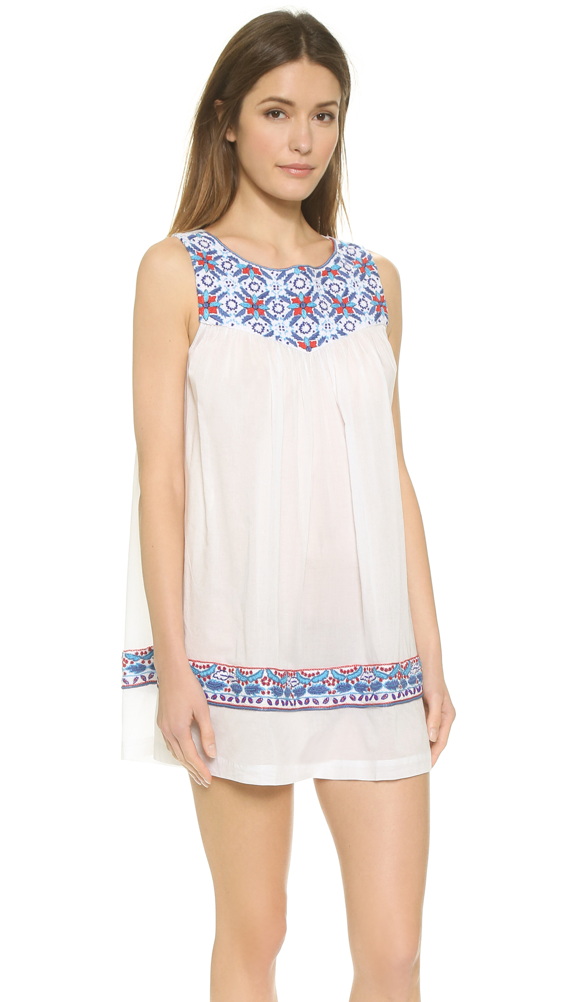 Pia pauro blue tiles embroidered beach dress white in