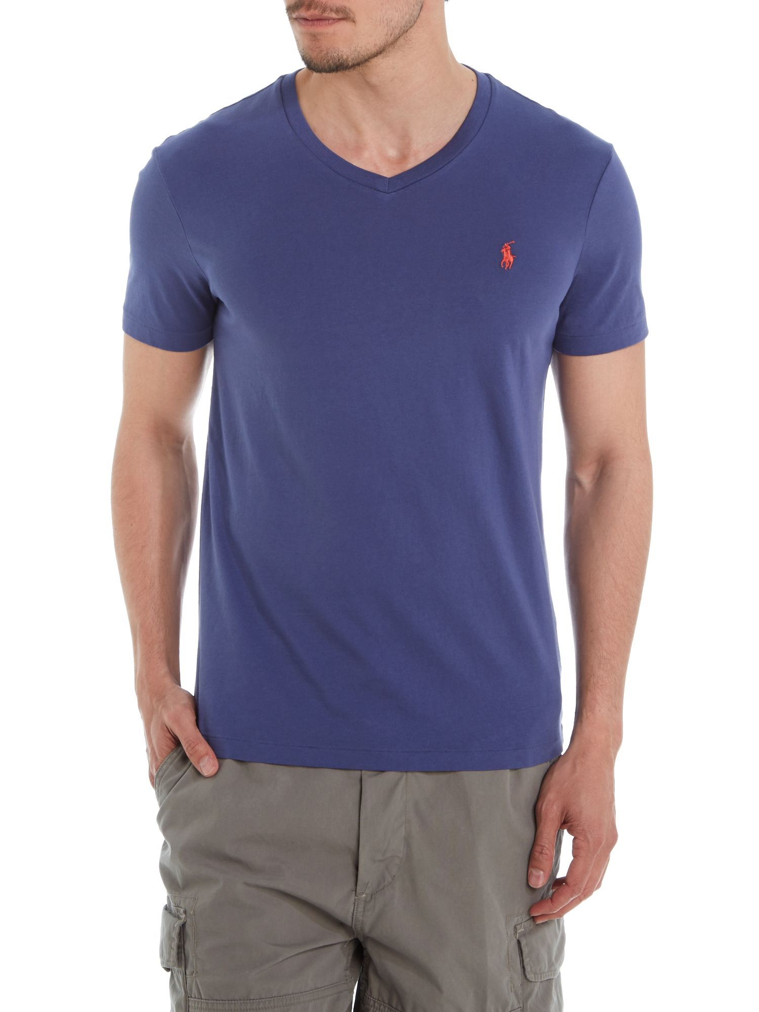 Polo Ralph Lauren V Neck Combed Jersey T Shirt In Blue For