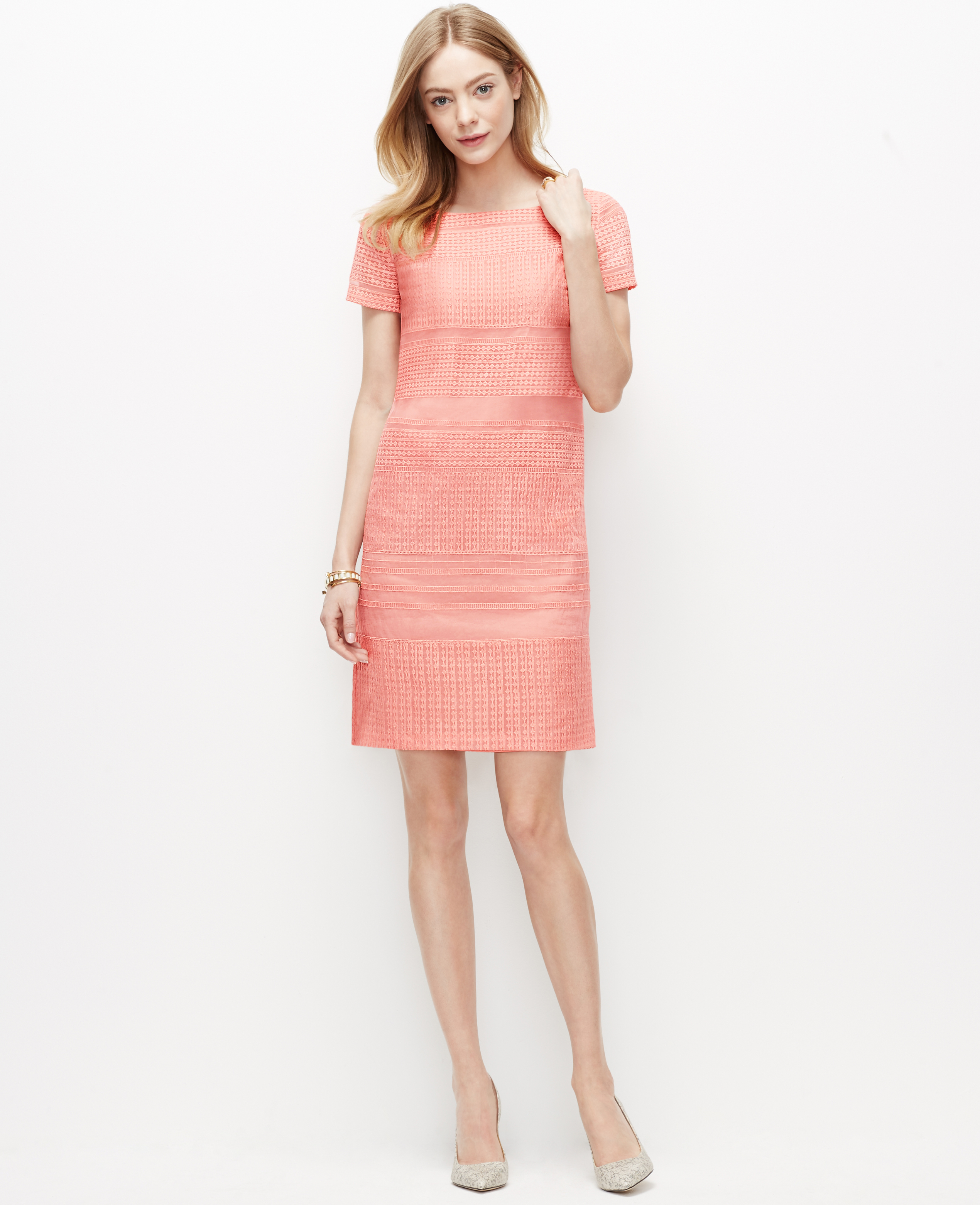 Lyst - Ann Taylor Petite Organza Lace Shift Dress in Pink