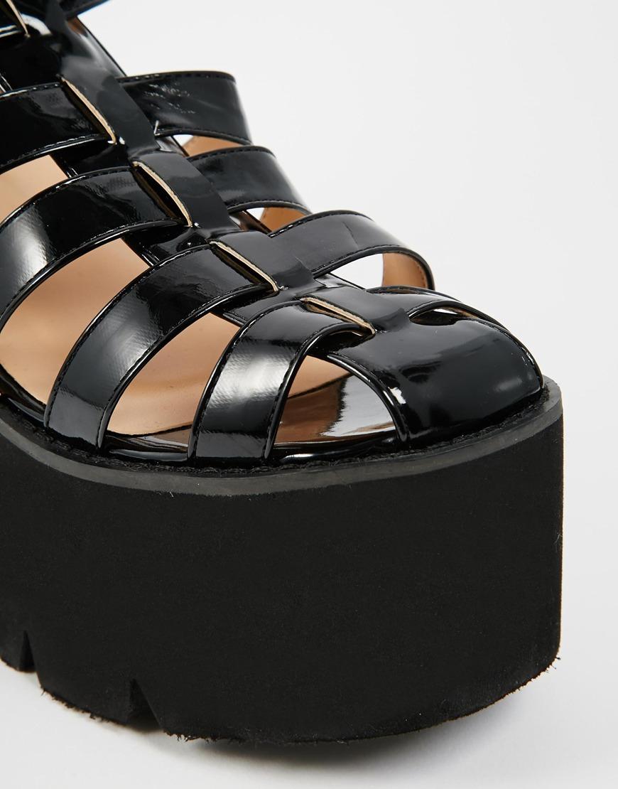 7d6c5ee6716 Lyst - Daisy Street Black Chunky Gladiator Sandals in Black
