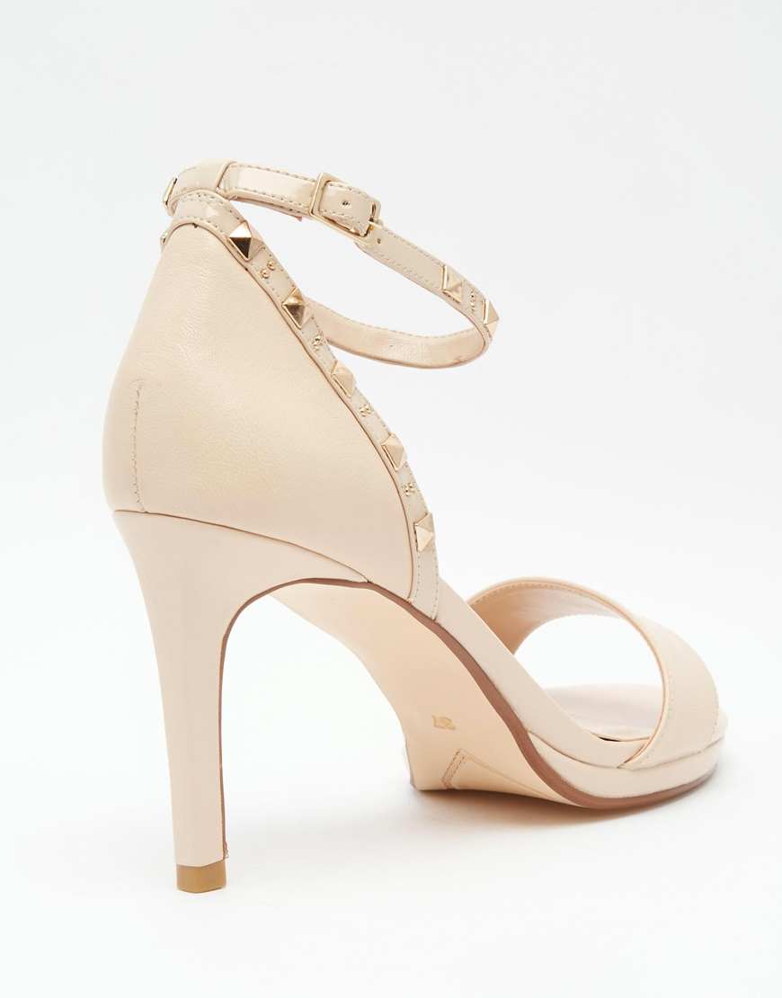 51dae6cd406 Dune Missie Nude Leather Two Part Studded Heeled Sandals in Natural ...