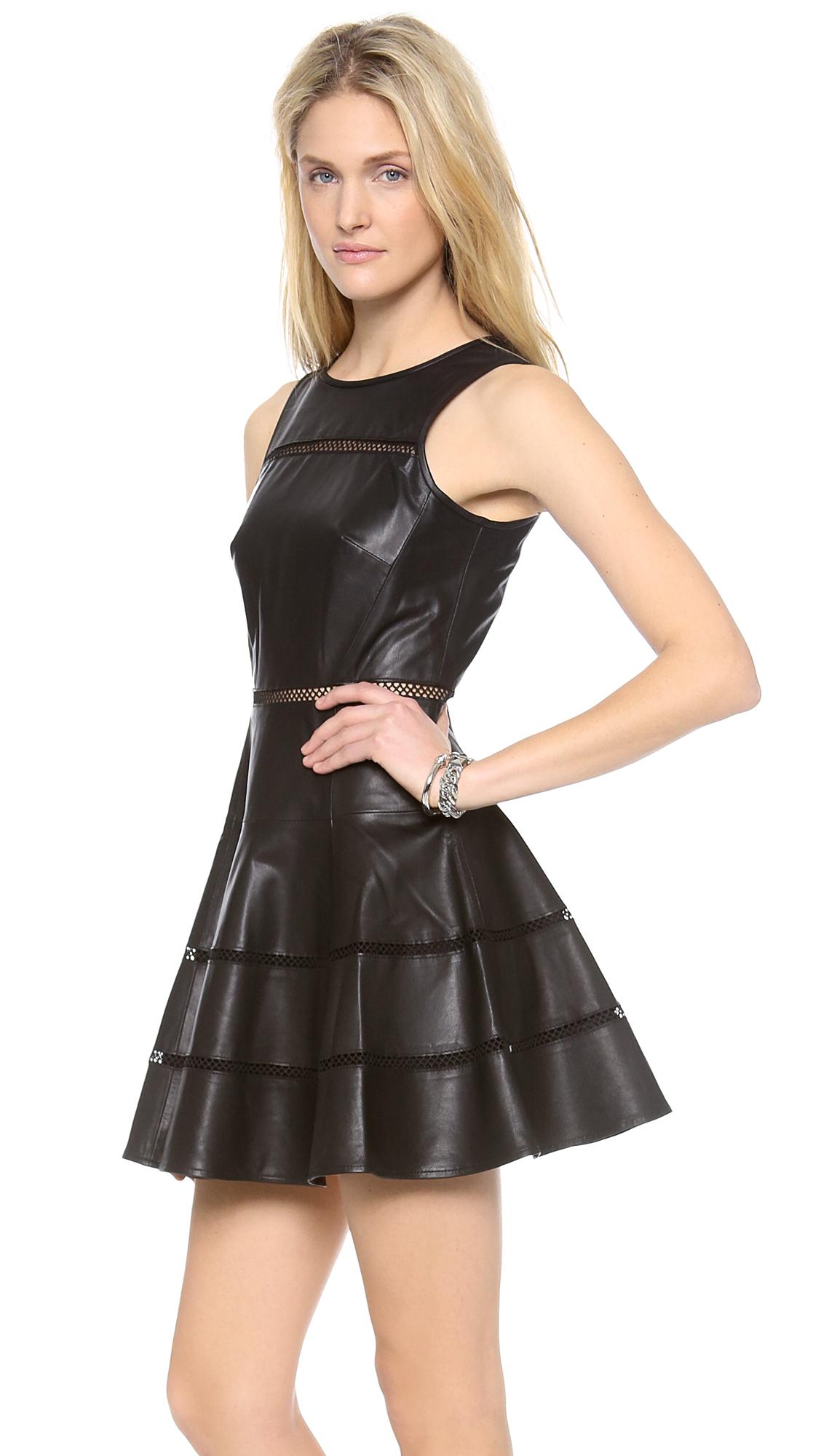 Tibi Aria Leather Dress In Black Lyst