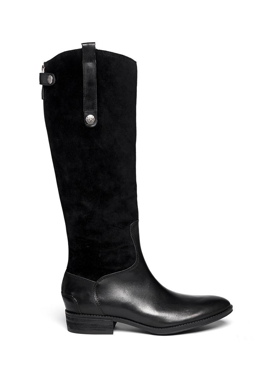 sam edelman pembrooke suede leather boots in black lyst