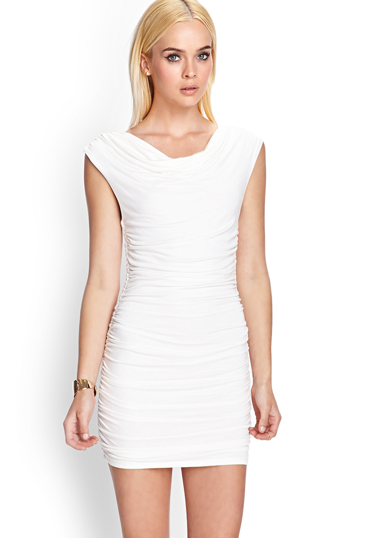 96560fc1324 Lyst - Forever 21 Sleeveless Ruched Mini Dress in White