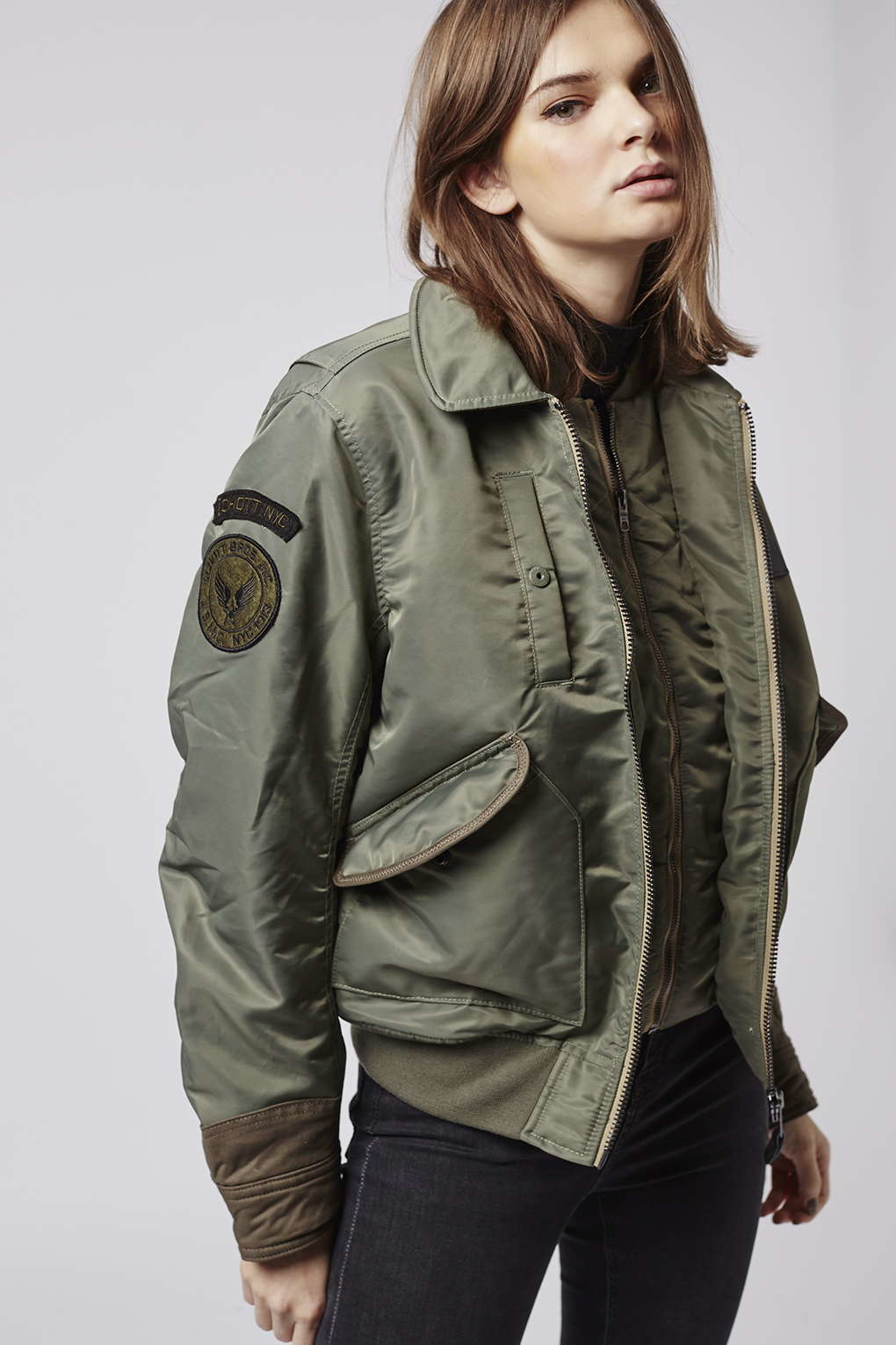 Topshop Schott Flight Jacket in Natural | Lyst