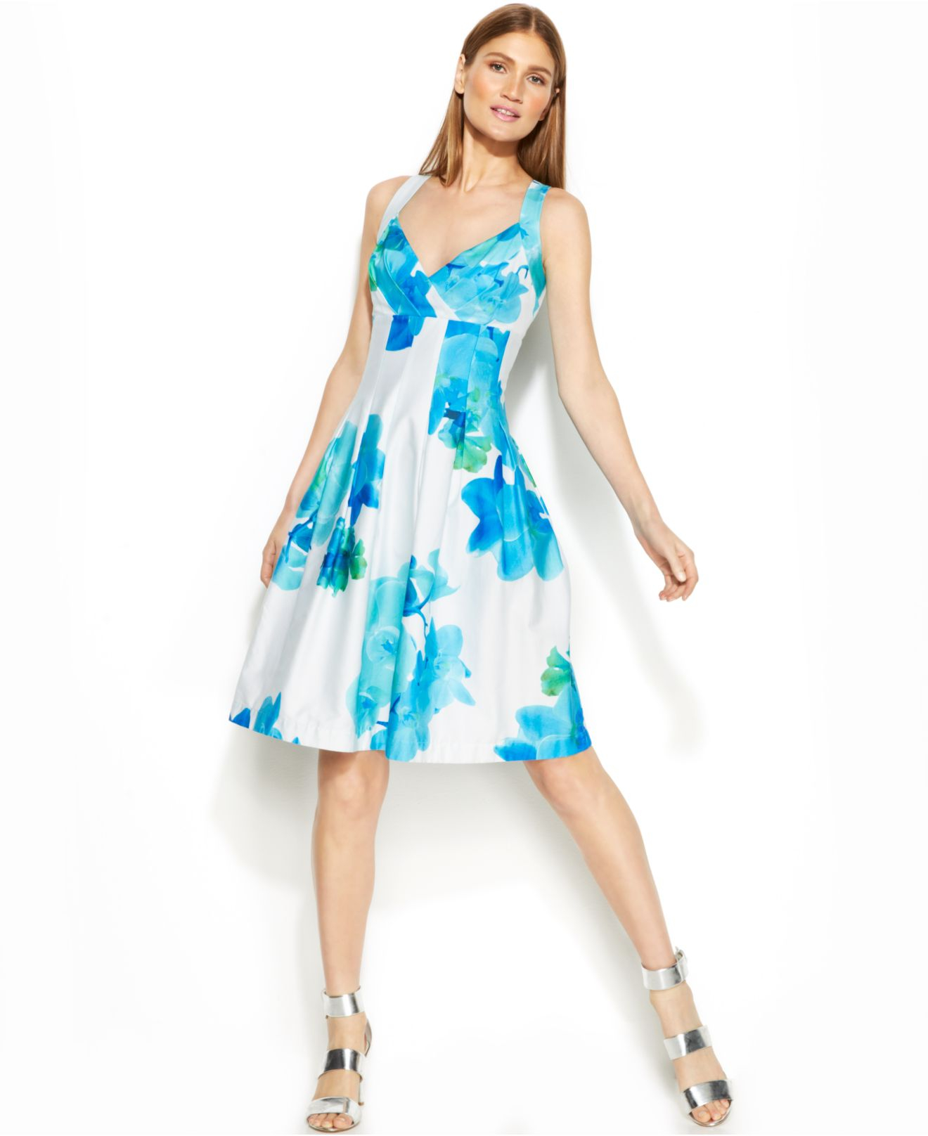 Lyst Calvin Klein Floral Print Pleated Dress In Blue