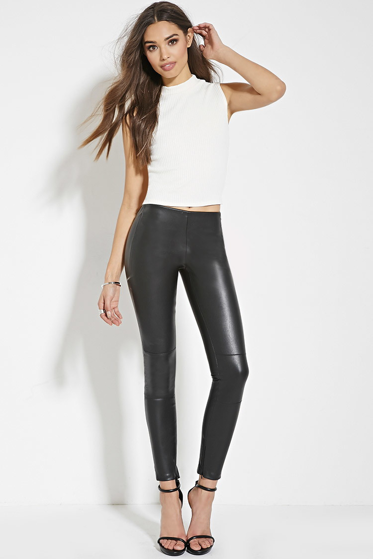 Lyst Forever 21 Faux Leather Skinny Pants In Black