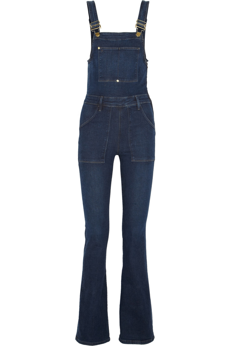 Frame Le High Flared Stretch-Denim Overalls in Blue | Lyst
