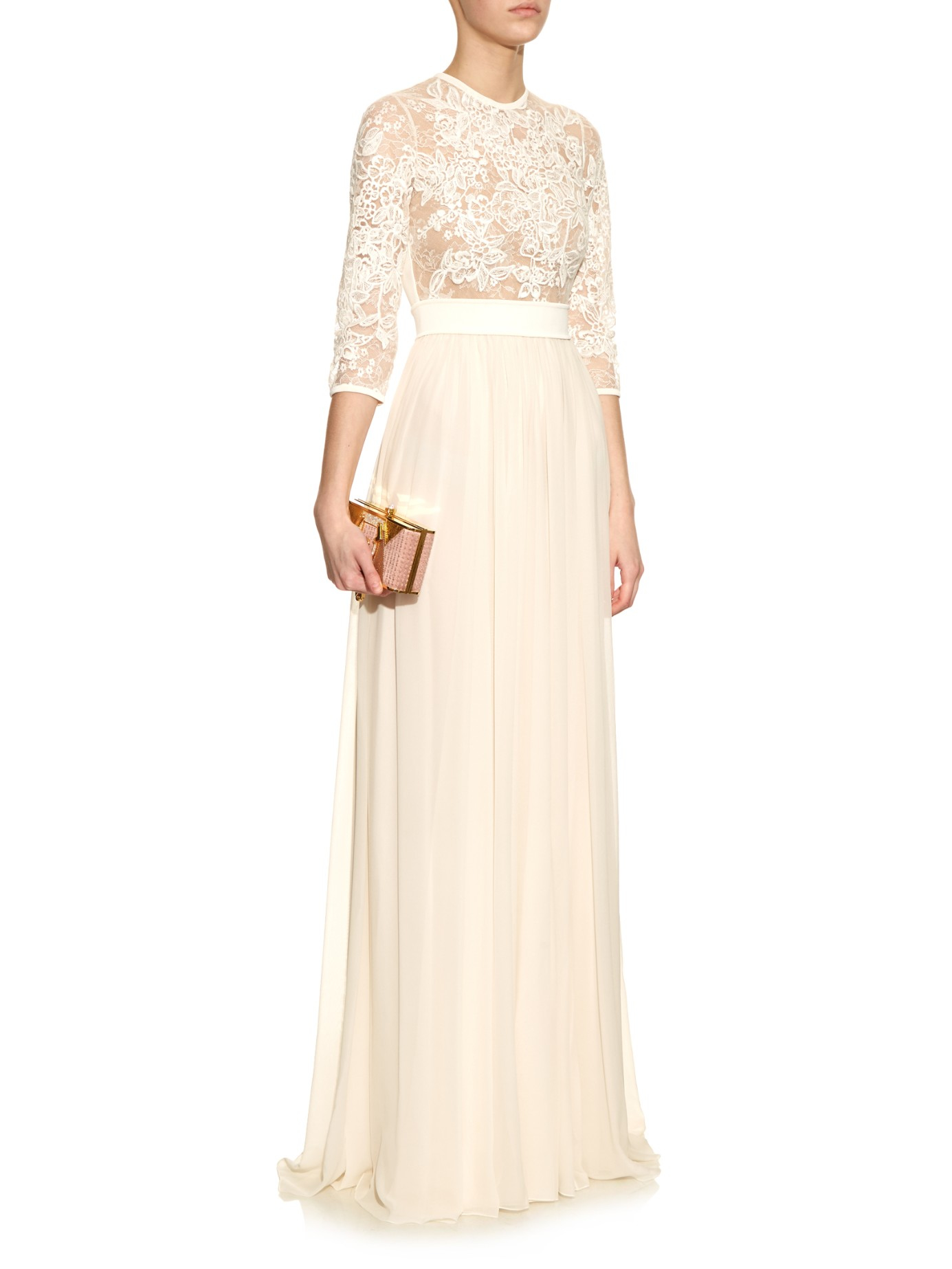 Elie Saab Embroidered Lace Silk Chiffon Gown In Natural Lyst