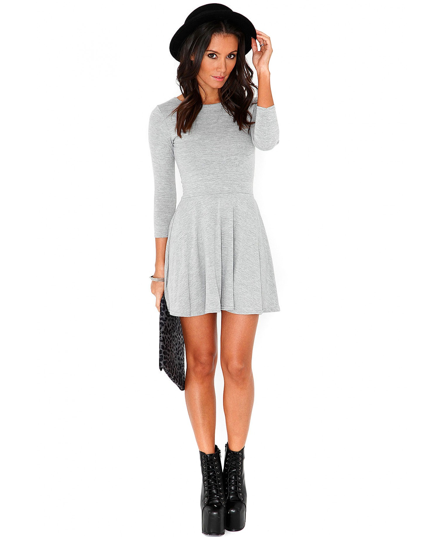 dcdc3044c84d Lyst - Missguided Poulina Value Long Sleeve Skater Dress in Grey in Gray