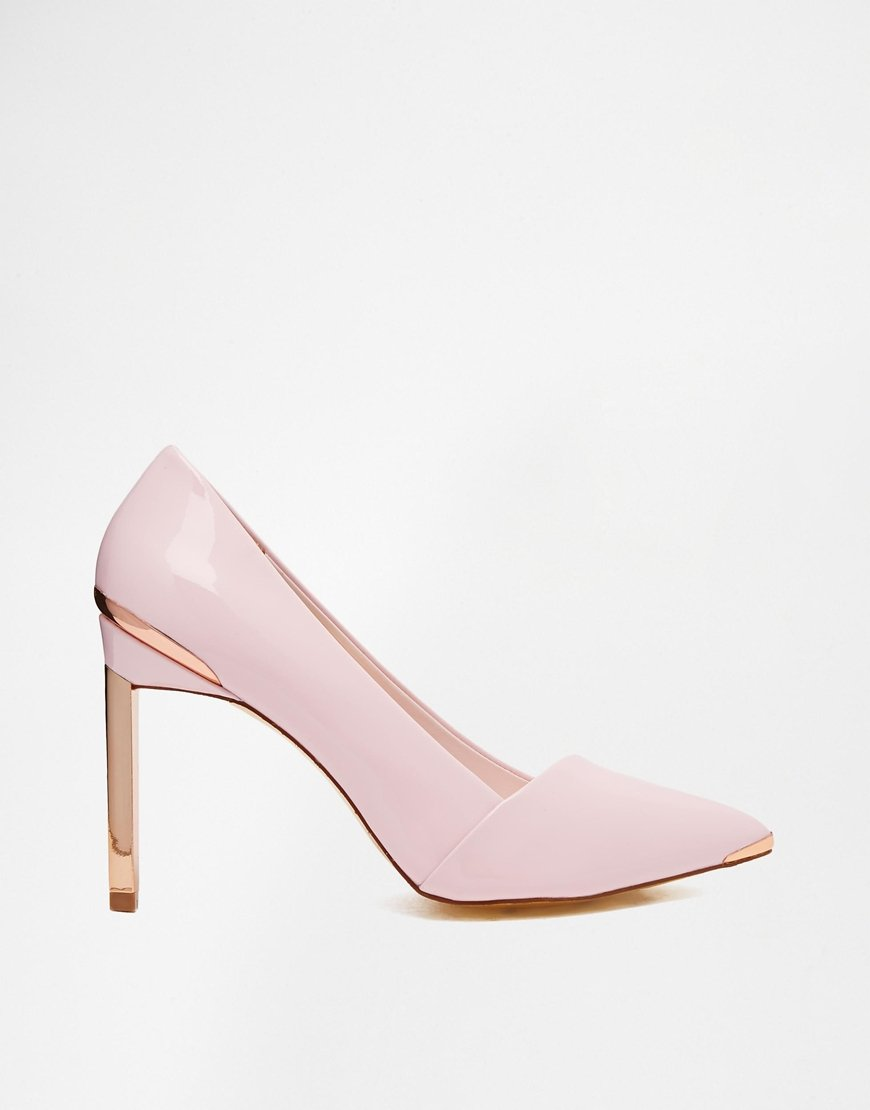 Ted baker Naretta Light Pink Patent Heeled Shoes in Metallic | Lyst