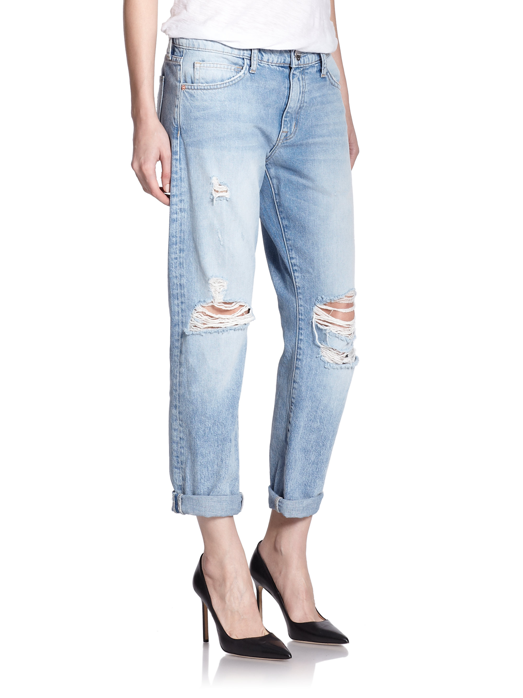 Current/elliott Woman Distressed Boyfriend Jeans Light Denim Size 25 Current Elliott Buy Cheap Pre Order Purchase Cheap Free Shipping Amazing Price How Much Online MxVPl1w