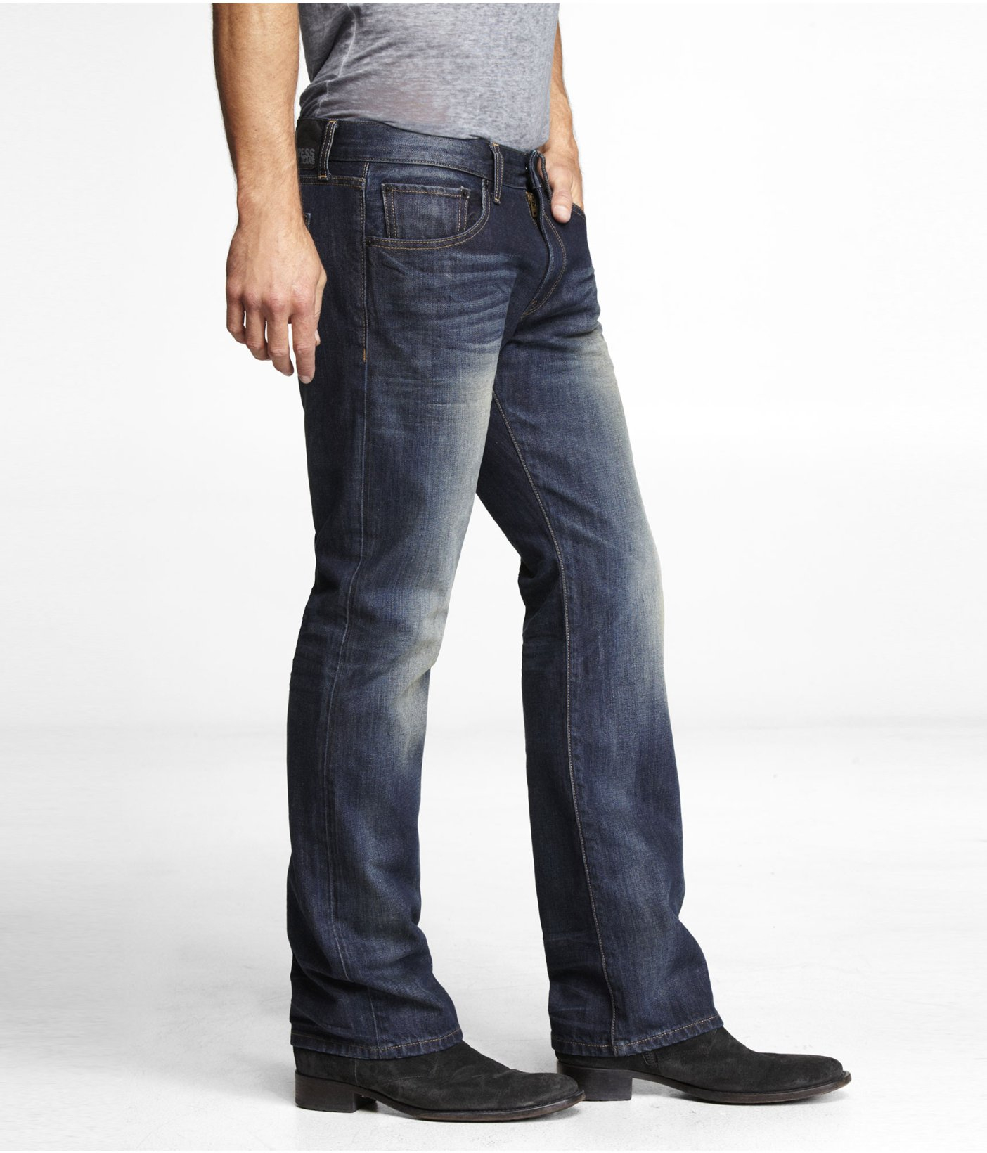 Express Rocco Slim Fit Boot Cut Jean in Blue for Men  Lyst