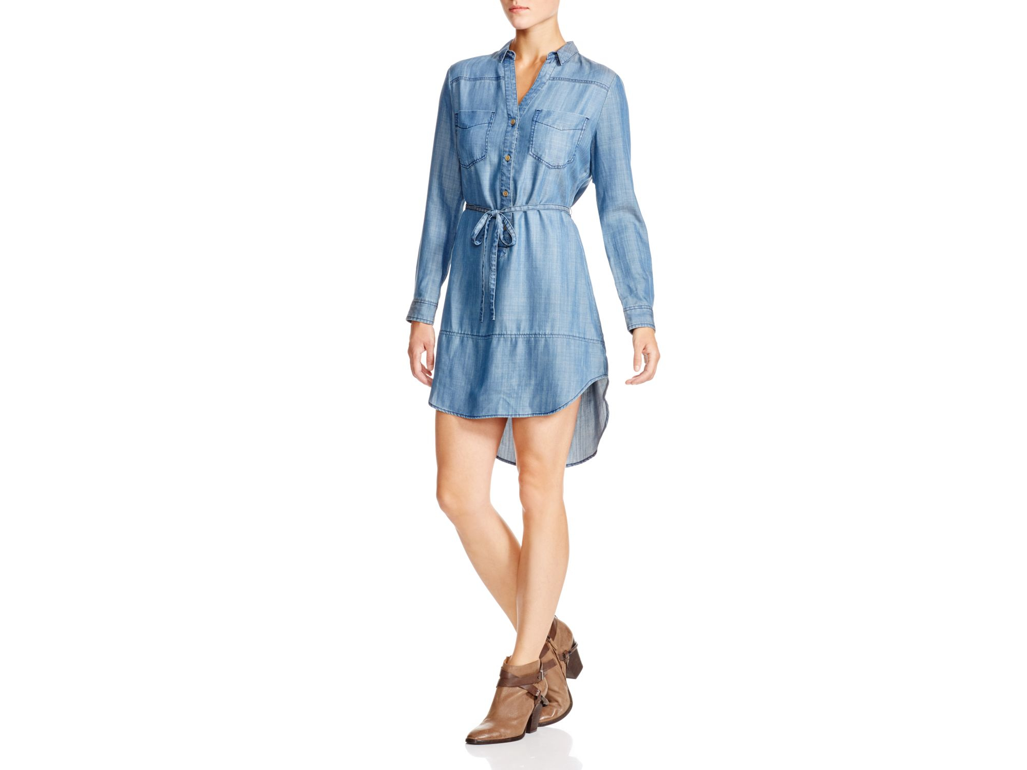 Aqua cynthia chambray shirt dress in blue lyst for Aqua blue mens dress shirt