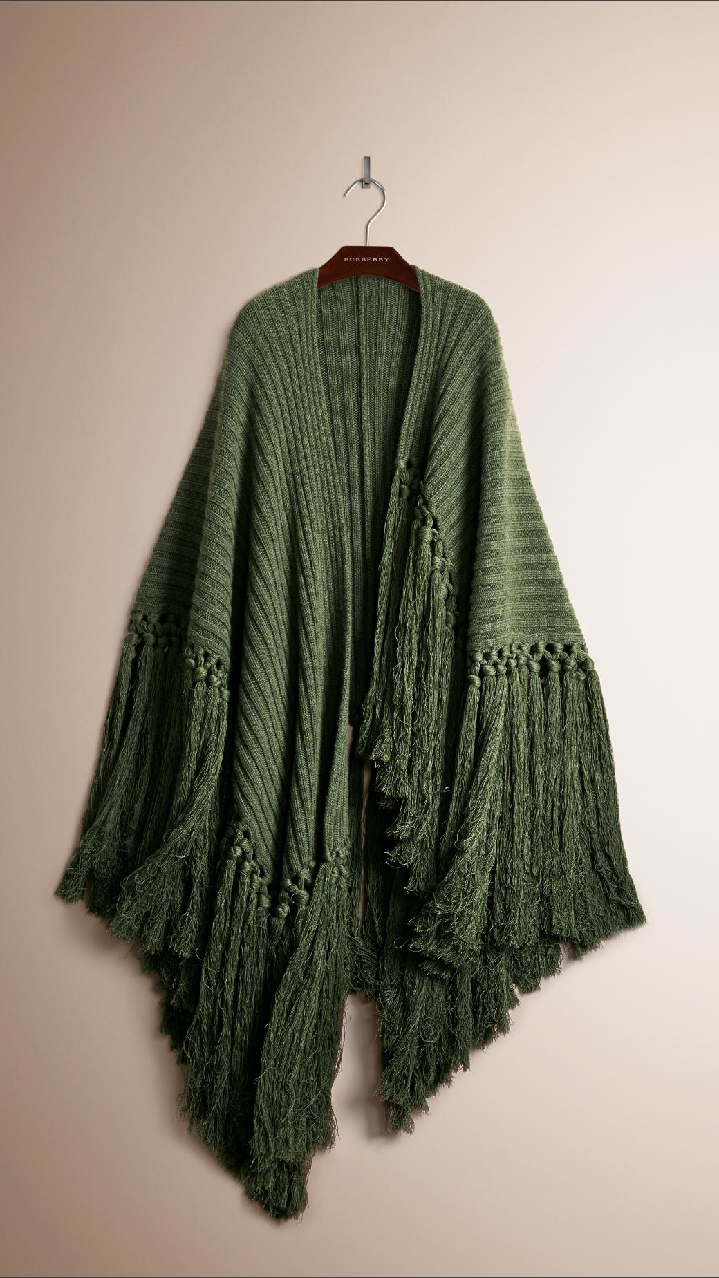 Knitting Pattern Burberry Scarf : Burberry Fringe Detail Knitted Cashmere Poncho in Green for Men Lyst