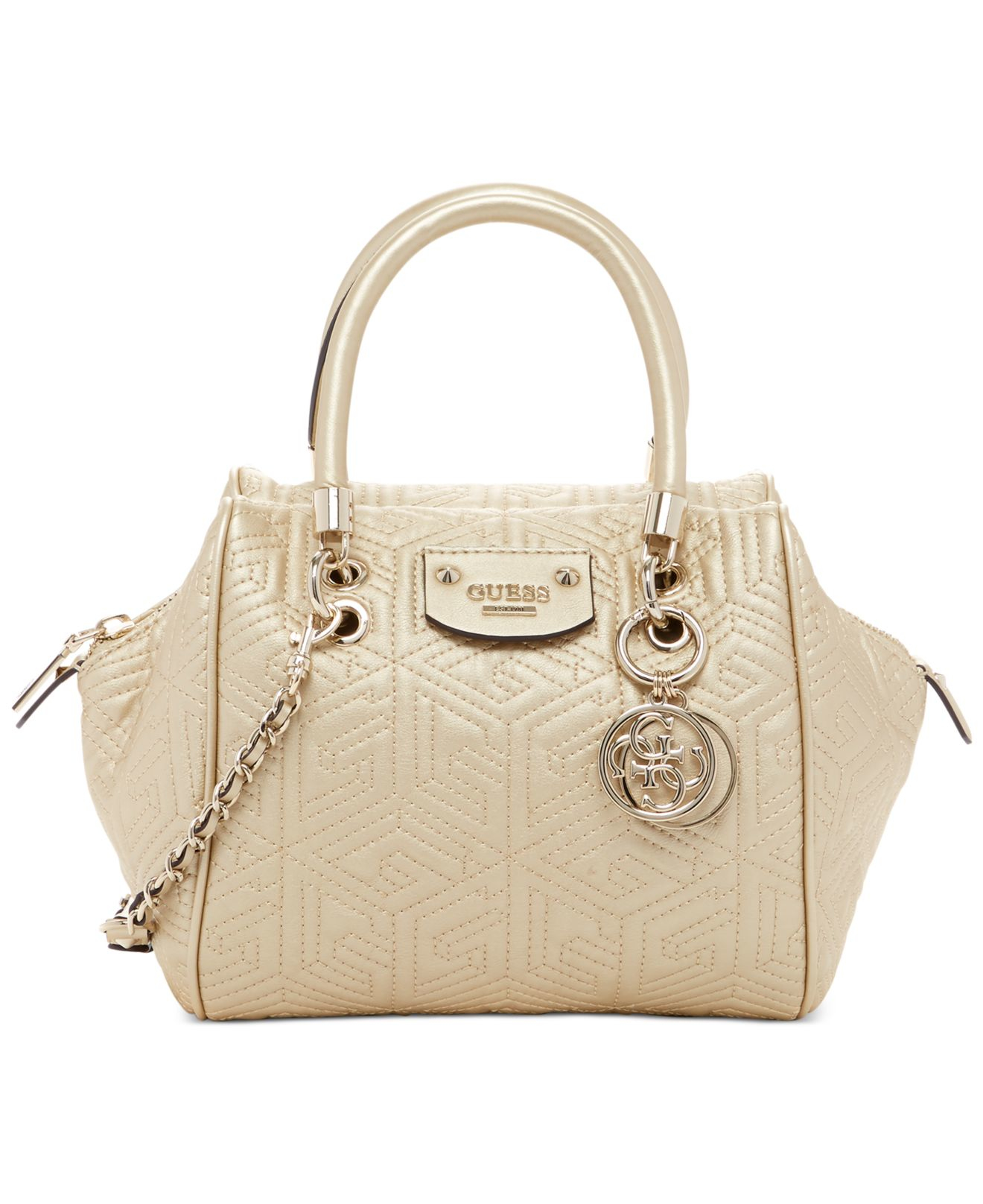 a34b8dd223fc Lyst - Guess G Cube Abbey Quilted Satchel in Metallic