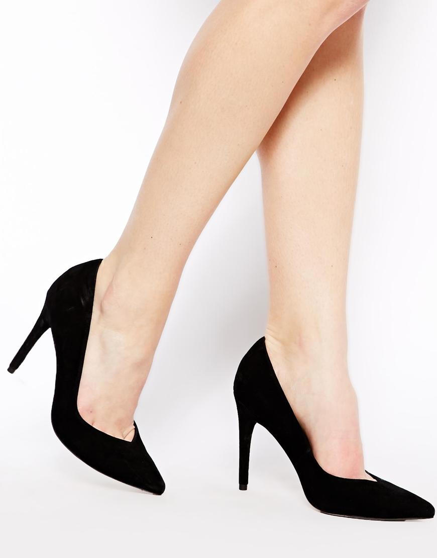 Asos Potential Suede Pointed Heels in Black | Lyst