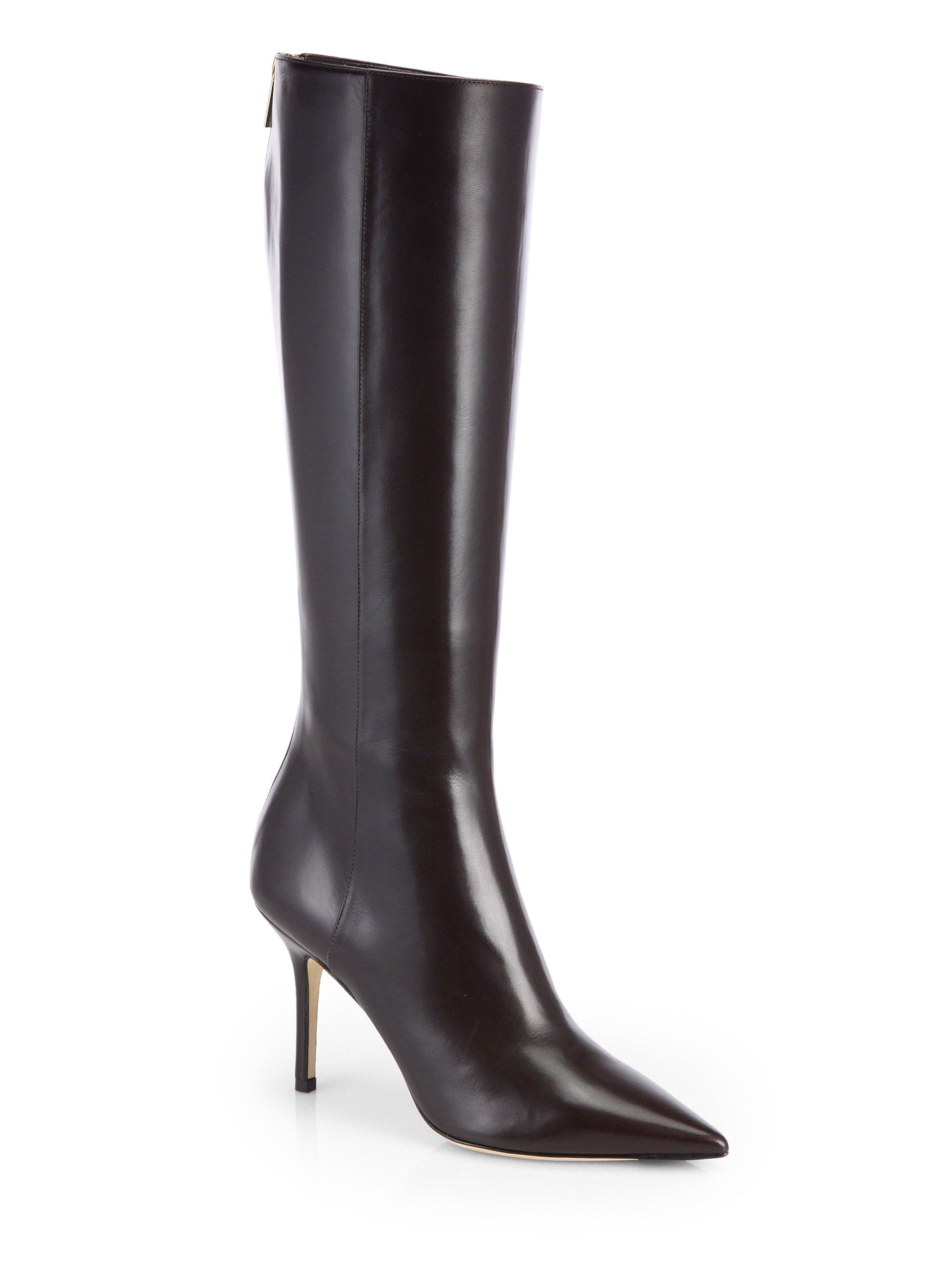 jimmy choo alma leather knee high boots in brown