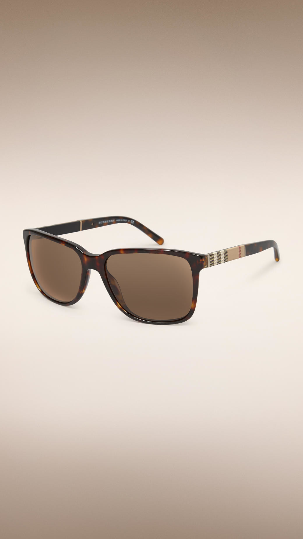 4fb227ad586 Burberry Square Frame Check Detail Sunglasses in Brown for Men - Lyst