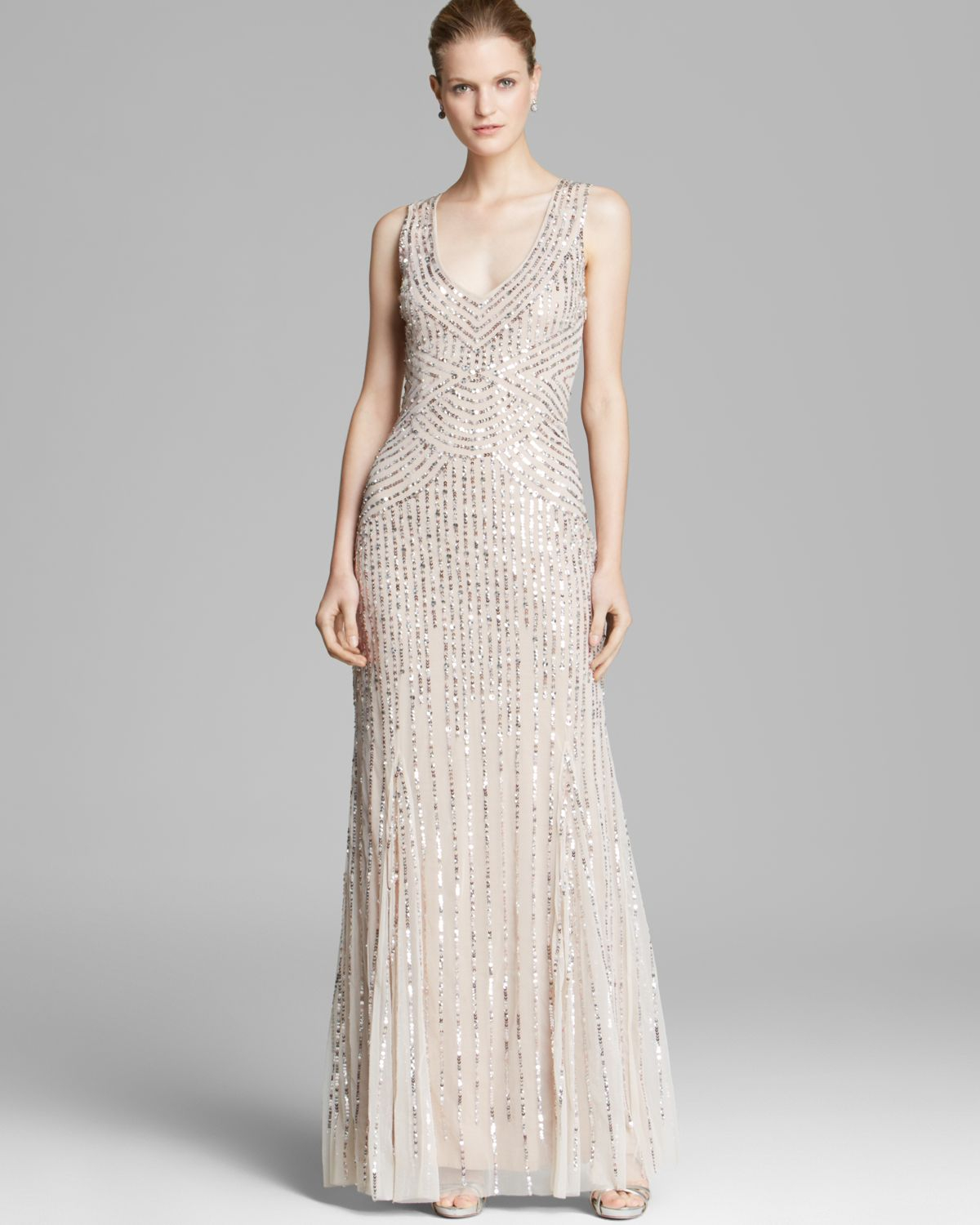 Aidan mattox Sleeveless V-Neck Beaded Gown with Illusion Back in ...