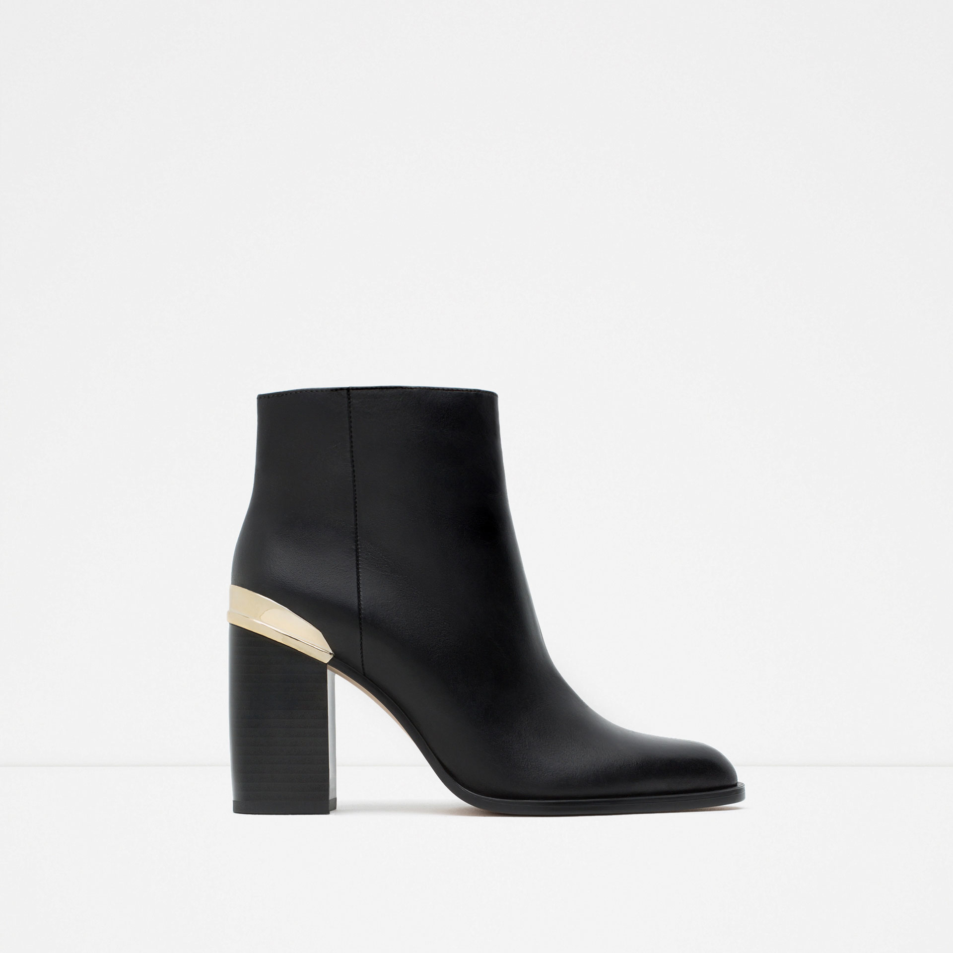 zara block heel leather ankle boots with golden plaque in