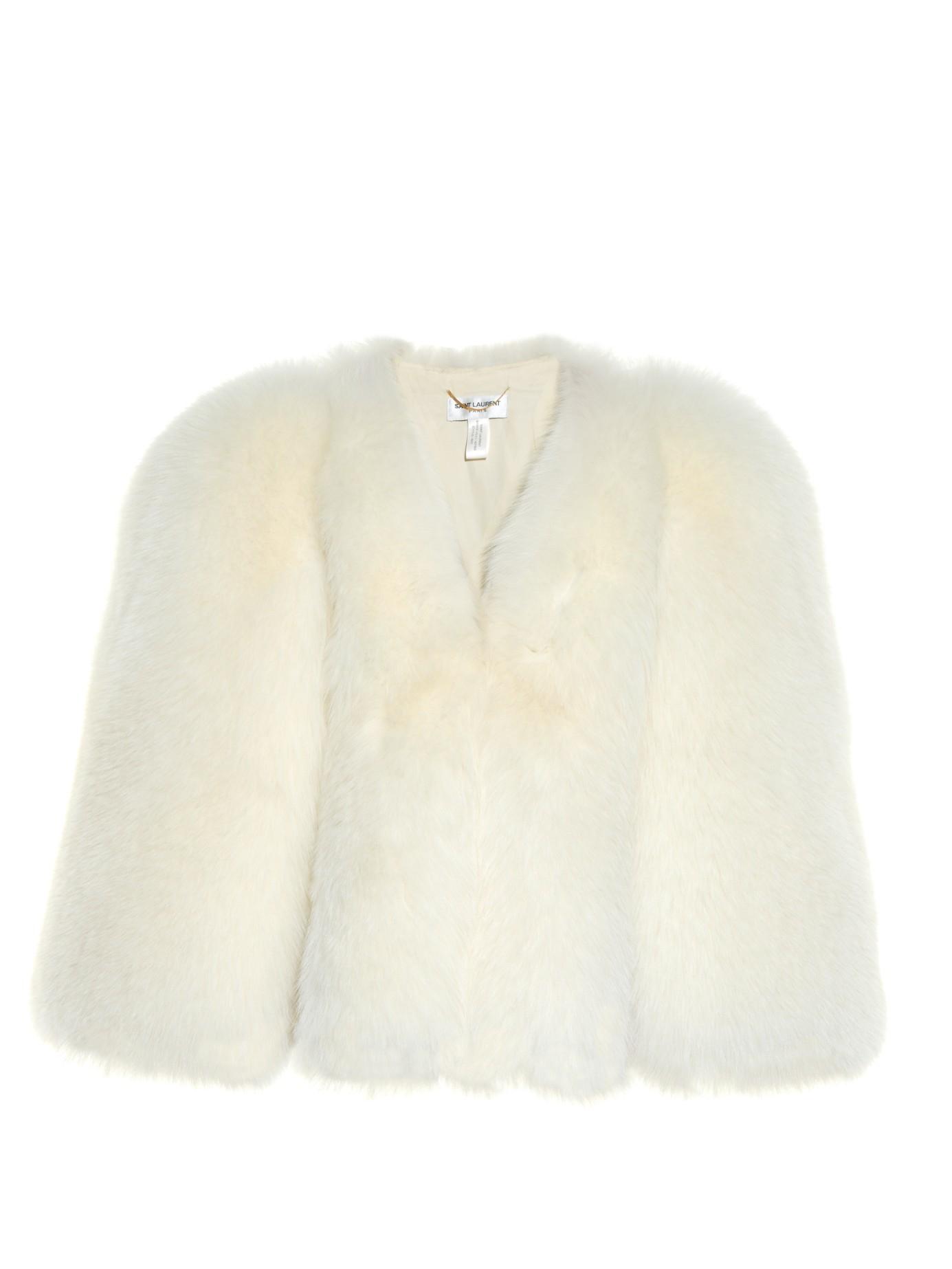 a50e1643f Saint Laurent Collarless Fox-Fur Cape in White - Lyst