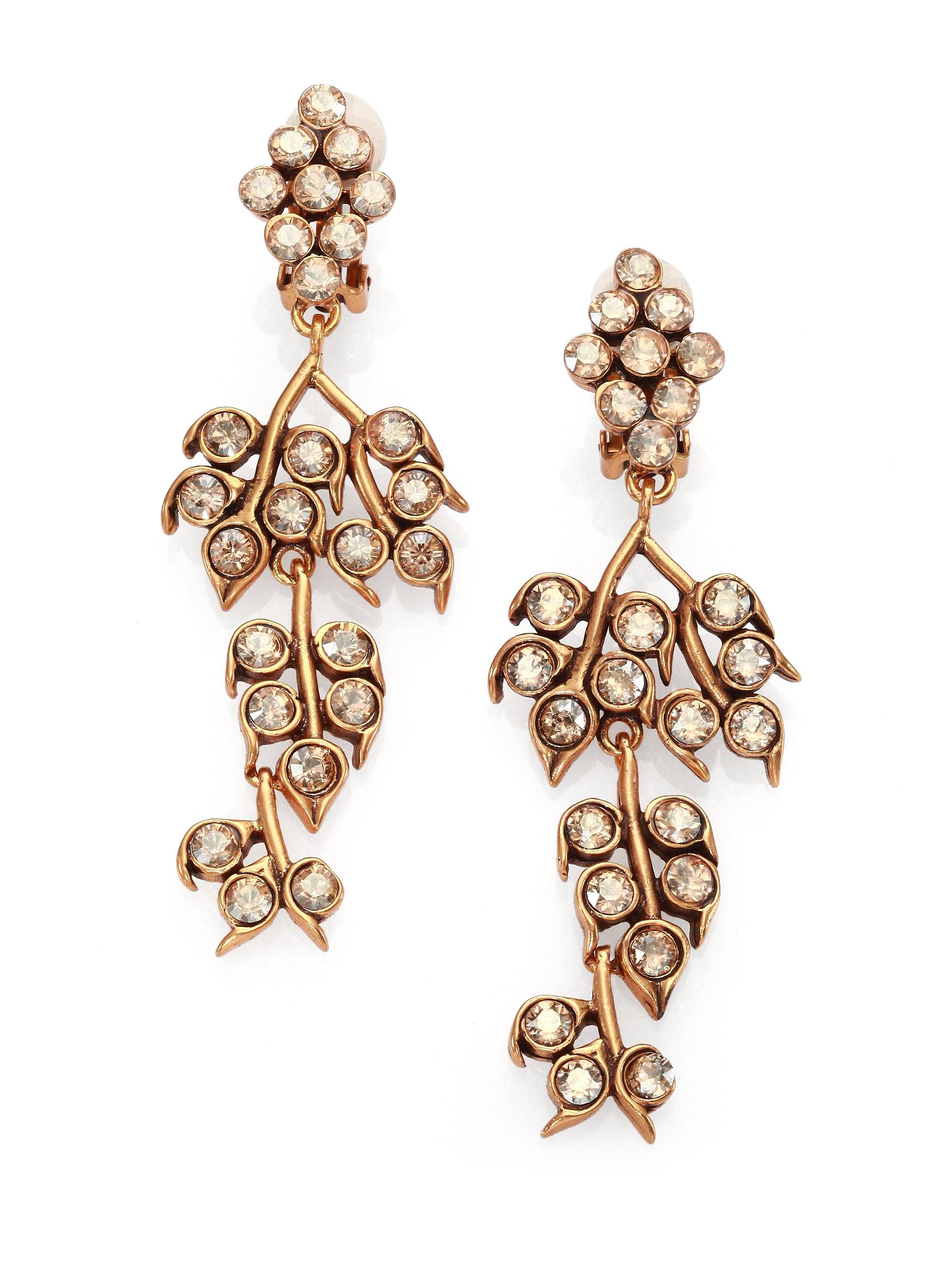 Lyst oscar de la renta crystal vine clip on chandelier earrings in gallery aloadofball Choice Image