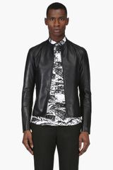 Maison Martin Margiela Navy Leather Bomber Jacket