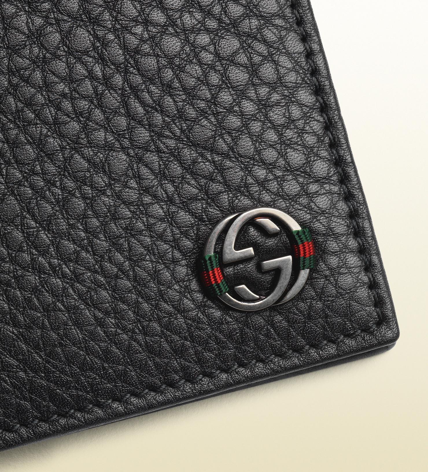 Lyst Gucci Leather Bi Fold Wallet In Black For Men