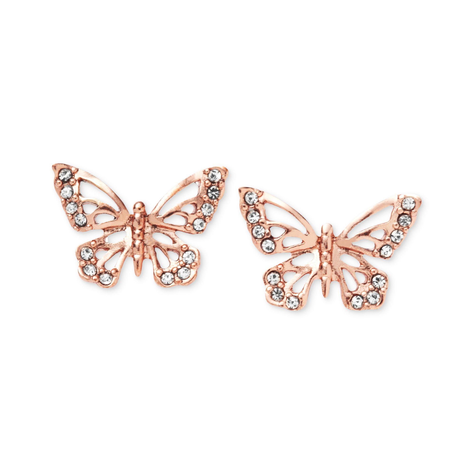 Fossil Rose Goldtone Crystal Butterfly Stud Earrings in ...