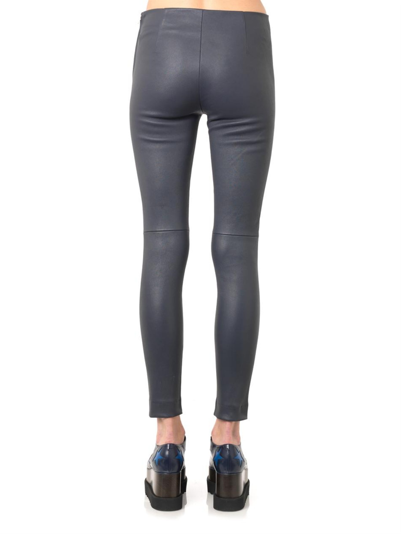 Freda Charcoal-Grey Leather Leggings in Gray | Lyst
