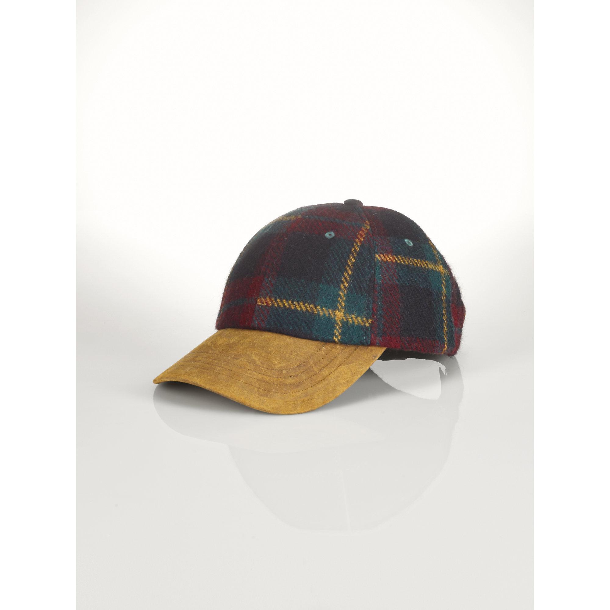 fa79969a4c22d Polo Ralph Lauren Plaid Wool Cap in Green for Men - Lyst